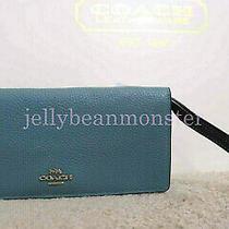 Coach 27451 Colorblock Pebble Leather Bifold Slim Wallet Wristlet Marine Blue Photo
