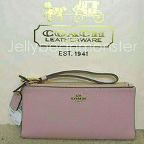 Coach 27495 Leather Double L Zip Wallet Wristlet Purse Blossom Pink New Tag Photo