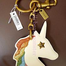 Coach 27655 Unicorn Rainbow Glitter Star Key Ring Keychain Charm Chalk Photo