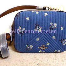 Coach 29419 Floral Bow Camera Bag Crossbody Clutch Purse Denim Blue New Photo