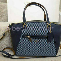 Coach 29848 Legacy Jacquard Prairie Leather Crossbody Bag Midnight Navy Blue New Photo