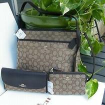Coach 3 Piece Set Nwt Khaki/brown Outline Messenger Bag With Wristlet & Checkboo Photo