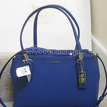 Coach 30128 Madison Christie Saffiano Leather Carryall Bag S Lacquer Blue New Photo