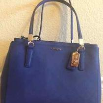 Coach 30128 Madison Lacquer Blue Saffiano Leather Small Christie Carryall  Photo