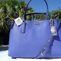 Coach 30128 Madison Lacquer Blue Saffiano Leather Small Christie Carryall 298 Photo