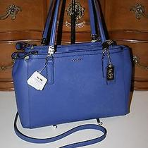 Coach 30128 Madison Small Christie Carryall Handbag Lacquer Blue Saffiano Nwt Photo