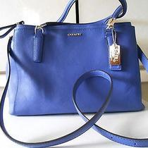 Coach 30128 Madison Small Christie Carryall in Saffiano Lacquer Blue Leather  Photo