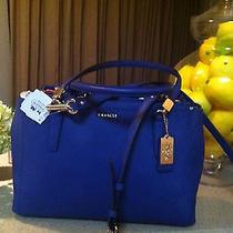 Coach 30128 Nwt Saffiano  Madison Lacquer Blue  Leather Small Christie Carryall  Photo
