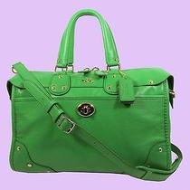 Coach 33689 Rhyder Green Leather Satchel Shoulder Bag Msrp 495.00 Photo