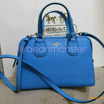 Coach 33735 Mini Nolita Leather Satchel Bag Crossbody Purse Azure Blue New Photo