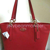 Coach 33961 Ellis Leather Shoulder Tote Bag Purse Handbag Red New Tag Photo