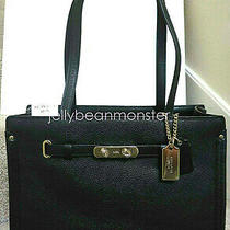 Coach 34915 Swagger Polished Pebble Leather Carryall Tote Bag Purse S Black New Photo