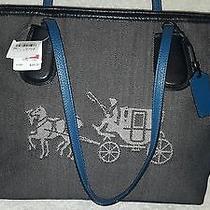 Coach 35337m Embossed Horse & Carriage Logo Taxi Tote Bag Purse Denim Blue  Photo