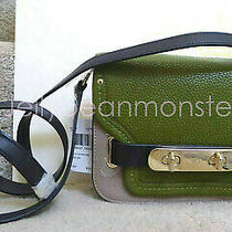 Coach 36255 Colorblock Pebble Leather Swagger Shoulder Bag Purse Crossbody Stone Photo
