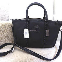 Coach 36306 Central Lacquer Rivets Leather Satchel Crossbody Bag Black New Photo