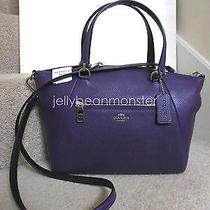 Coach 36417 Prairie Bicolor Pebbled Leather Satchel Crossbody Bag Violet Purple Photo