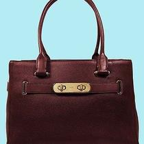 Coach 36488 Swagger Carryall  Oxblood in Pebble Leather Tote Bag  Msrp 395.00 Photo