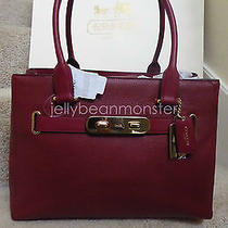 Coach 36488 Swagger Polished Pebble Leather Carryall Tote Bag Purse Black Cherry Photo