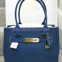 Coach 36488 Swagger Polished Pebble Leather Carryall Tote Bag Purse Denim Blue Photo
