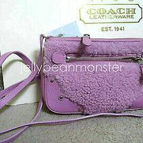 Coach 36490 Shearling Small Rhyder Pochette Bag Purse Crossbody Pink New Photo