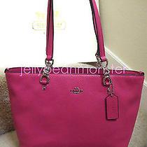 Coach 36604 Sophia Polished Pebble Leather Small Tote Bag Dahlia Pink New Photo