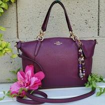 Coach 36675 Small Kelsey Purple Plum Pebble Leather Crossbody Satchel Purse Euc Photo