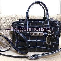 Coach 37186 Swagger 20 Crocodile Leather Satchel Carryall Bag Denim Blue New Photo