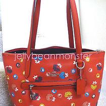 Coach 37226 Taylor Floral Canvas Zip Top Tote Shoulder Bag Carmine Wild Prairie Photo