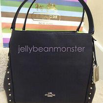 Coach 37700 Edie 31 Studs Floral Rivets Leather Shoulder Bag Purse Navy Black Photo