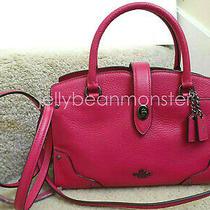 Coach 37779 Mercer Soft Grain Leather Satchel 24 Bag Purse Cerise Pink New Tag Photo