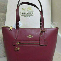Coach 38312 Taylor Pebble Leather Zip Top Tote Shoulder Bag Purse Deep Red New Photo