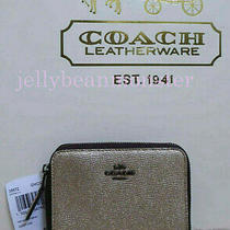 Coach 38872 Metallic Leather Small Zip Around Wallet Purse Platinum New Tag Photo