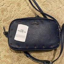 Coach 38931 Cadet Blue Crystal Rivets Leather Crossbody Clutch Handbag Nwt Photo