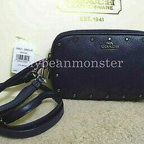Coach 38931 Sadie Crystal Rivets Leather Crossbody Clutch Bag Cadet Blue New Photo