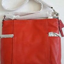 Coach 398 Designer Nwt Red Sv/vermillion Genuine Pebble Leather Tote F31323 Photo