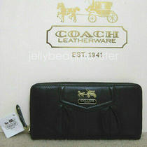 Coach 44392 Madison Leather Accordion Zip Wallet Purse Black New Tag Photo