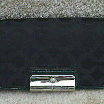 Coach 45073 Kristin Op Art Signature Slim Envelope Flap Wallet Black New Tag Photo