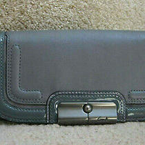 Coach 46005 Kristin Spectator Leather Slim Envelope Flap Wallet Purse Grey New Photo