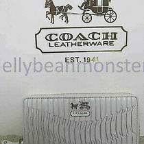 Coach 46481 Madison Gathered Leather Accordion Zip Wallet Purse Parchment New Photo