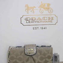 Coach 46636 Madison Signature Op Art Skinny Wallet Purse Khaki Natural Python Photo