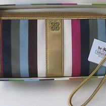 Coach 46807 Julia Stripes Legacy Zippy Zip Wallet Wristlet  Purse Multicolor New Photo