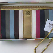 Coach 46807 Julia Stripes Legacy Zippy Zip Wallet Wristlet  Purse Multicolor New Photo