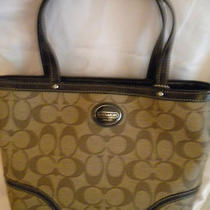 Coach 47367 Khaki Mahogany Brown Peyton Signature Top Handle Handbag Nwt Photo