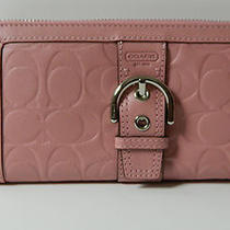 Coach 47721 Nwt Soho Textured Embossed C Leather Zip Around Wallet 248 Blush Photo