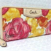 Coach 48780 Ashley Floral Print Canvas Zip Wallet Yellow Red Pink Nwt Rare Photo