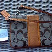 Coach 49174 Signature Stripe Small Wristlet Bag Purse in Khaki Orange Spice Nwt Photo