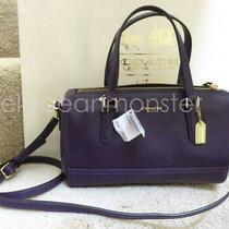 Coach 49392 Legacy Saffiano Leather Mini Satchel Bag Crossbody Purse Black Viole Photo