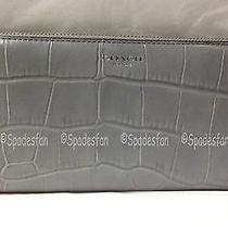 Coach 49654 Legacy Croc Leather Accordion Zip Around Wallet Grey Quartz Nwt Photo