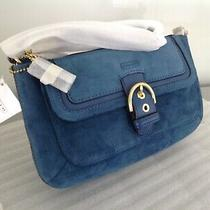 Coach 49886 Campbell Blue Suede Buckle Flap Large Wristlet -New With Tag Photo