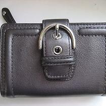Coach 50090 Campbell Leather Buckle Med Wallet Nwt 158 Hematite/silver Photo